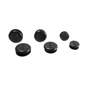 Set of Round Black Plastic End Caps